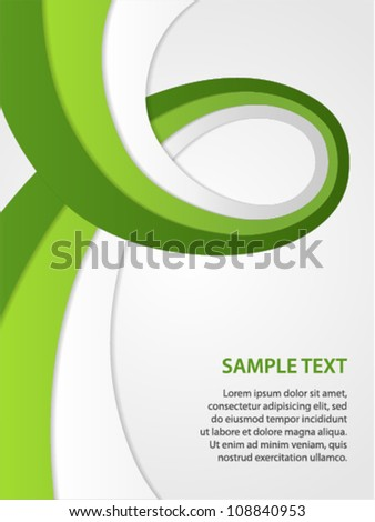 business background with green and white ribbon - stock vector