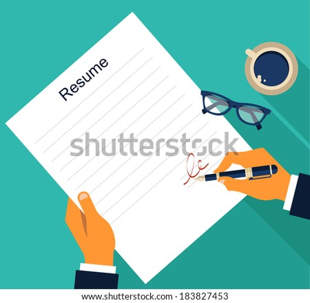 Business background with resume, vector - stock vector