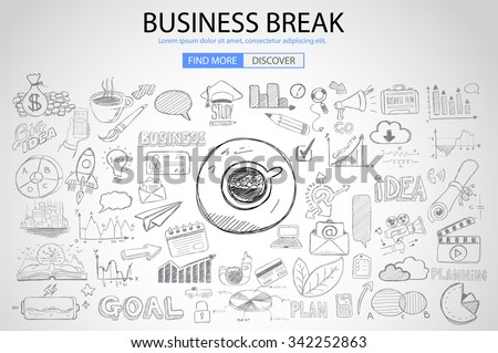 Business Break concept with Doodle design style :finding solution, brainstorming, creative thinking. Modern style illustration for web banners, brochure and flyers. - stock vector