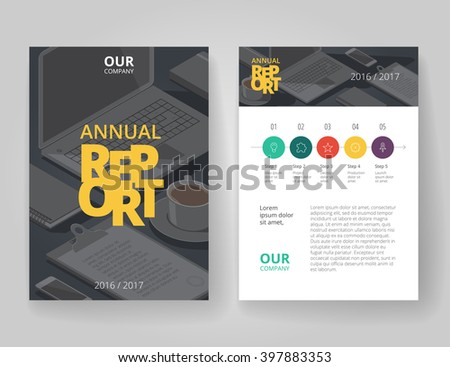 Business brochure design template with infographics. Annual report layout. Vector illustration. - stock vector