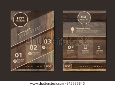 Business brochure flyer design layout template in A4 size, With texture of wood background, Vector illustration modern design  - stock vector