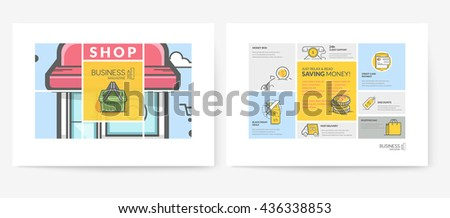 Business brochure flyer design layout template, with concept icons: Advertising, online shop. - stock vector