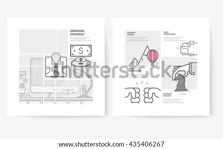 Business brochure flyer design layout template, with concept icons: Business company profile. - stock vector
