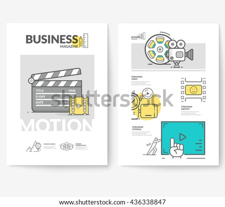 Business brochure flyer design layout template, with concept icons: Motion design. - stock vector