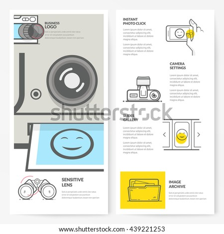 Business brochure flyer design layout template, with concept icons: Photography - stock vector