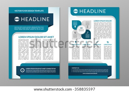 Business brochure flyer design template. Front and back page in A4 size. Vector layout with set of icons and infographic elements - stock vector
