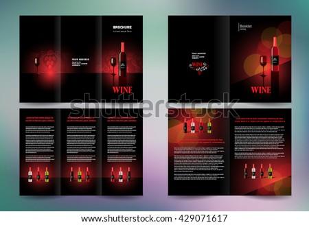 Business brochure set design template folder booklet tri-fold alcohol beverage wine red vine - stock vector