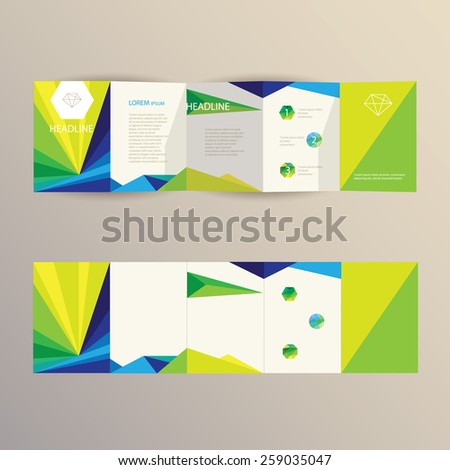 business brochure template design in modern triangular geometric composition with logo elements and polygon symbols- blue, green and yellow shades - stock vector
