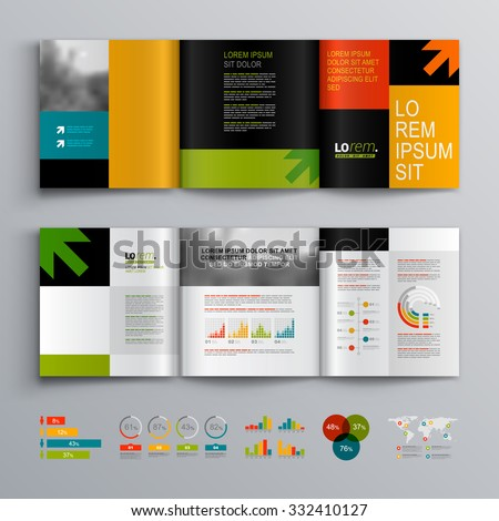 Business brochure template design with arrows. Cover layout and infographics - stock vector