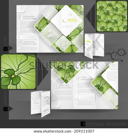 Business Brochure Template Design With White Square Elements. Vector Illustration. Eps 10 - stock vector