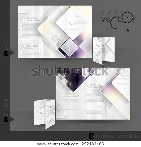 Business Brochure Template Design With White Square Elements. Vector Illustration. Eps 10. - stock vector