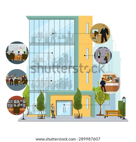 Business building facade. Office building exterior with an illustration of workers. Vector illustration in a flat style. - stock vector