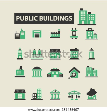 business buildings icons - stock vector