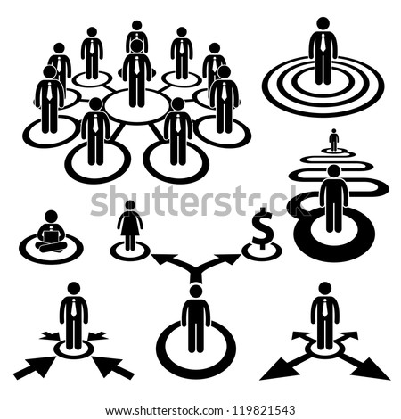 Business Businessman Workforce Teamwork Company Cooperation Stick Human Resources Figure Pictogram Icon - stock vector