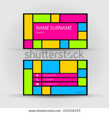 Business card, abstract - stock vector