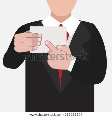 business card /businessman holding  banner / present / vector / illustration  - stock vector
