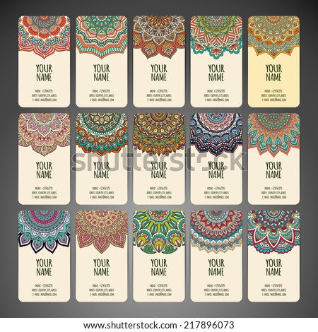 Business card collection, delicate floral pattern. Vector background. Card or invitation. Vintage decorative elements. Hand drawn background.  - stock vector