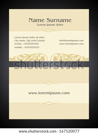 Business Card creative design, vintage, elegant style light print, front and back samples, luxury templates in classic colors, blank layout for your idea - stock vector