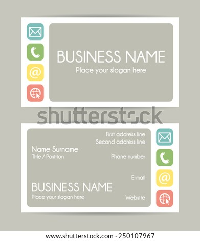 Business card. Flat design. Front and back. Vector set VI. - stock vector