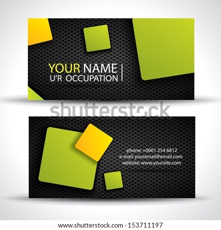 Business card - green, orange and black colors  - stock vector