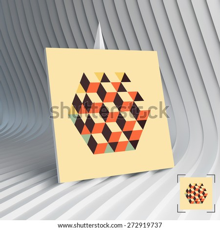 Business card. Hexagon shape with cubes inscribed. Can be used for advertising, marketing, presentation. 3d vector illustration.  - stock vector