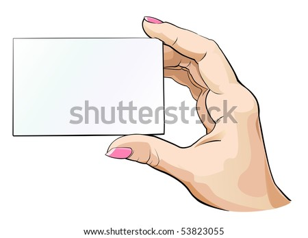 Business card in hand - stock vector