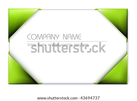 Business card in the green card holder  (vector) - stock vector