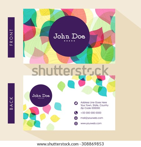 Business card or visiting card design with front and back presentation. - stock vector