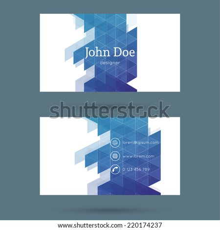 Business card or visiting card template with a triangular texture.   - stock vector