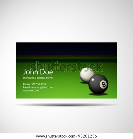 Business Card Professional Billiards Player - stock vector