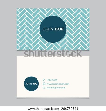 Business card template, blue pattern vector design editable - stock vector