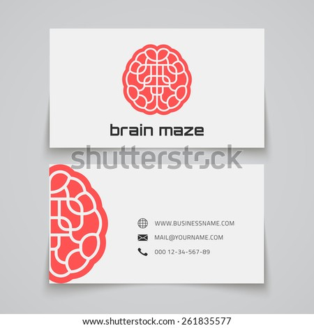 Business card template. Brain maze concept logo. Vector illustration - stock vector