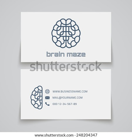 Business card template. Brain maze logo. Vector illustration - stock vector