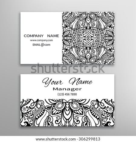 Business card template, decorative ornamental invitation collection. Hand drawn Islam, Arabic, Indian motif, lace pattern - stock vector