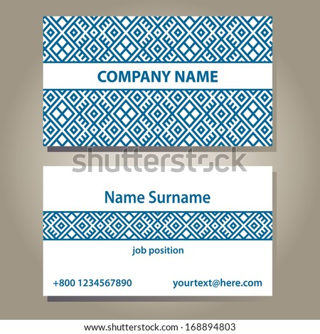 business card template in blue and white colors. isolated on grey gradient background with shadows.vector illustration 90?51 you can edit size - stock vector