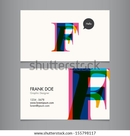 Business card template, letter F - stock vector