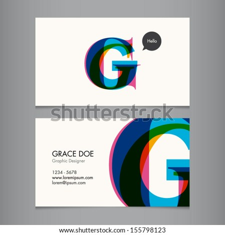Business card template, letter G - stock vector