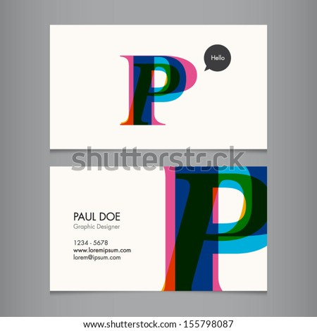 Business card template, letter P - stock vector