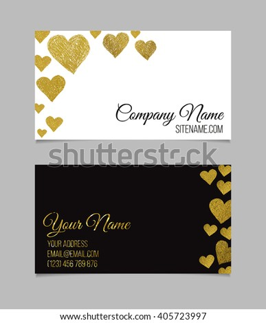 Business card template. Visiting card with golden foil heart shapes. Double-sided vector business card.  - stock vector