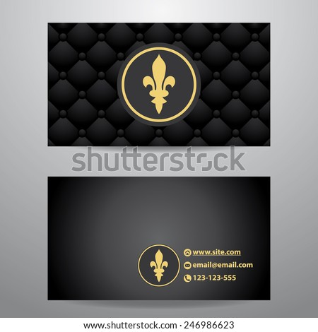 Business card template with black quilted leather pattern vector - stock vector