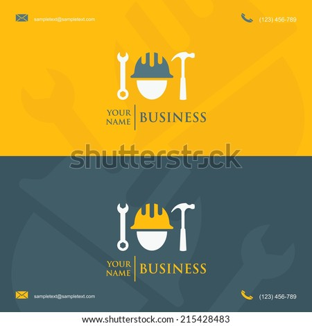 Business card template with construction worker symbol - vector illustration - stock vector