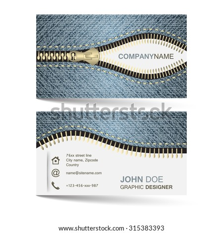 Business card template with denim jeans pattern and zipper for your creative design and individual or company presentation. Vector illustration. - stock vector