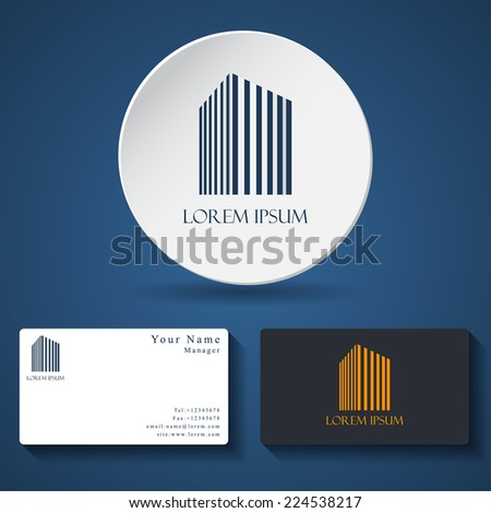 business card template with universal business or building icon for logo design.Vector illustrations. - stock vector