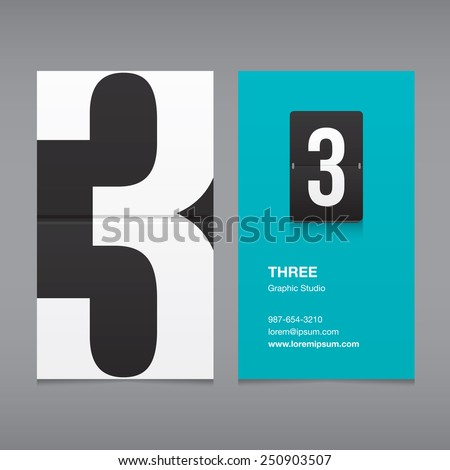 Business card with a number logo, numeral three  - stock vector