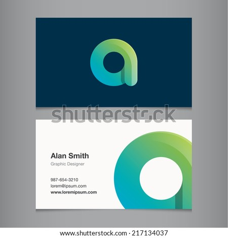 Business card with alphabet letter a. - stock vector
