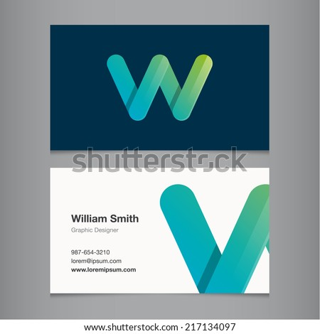 Business card with alphabet letter w. - stock vector
