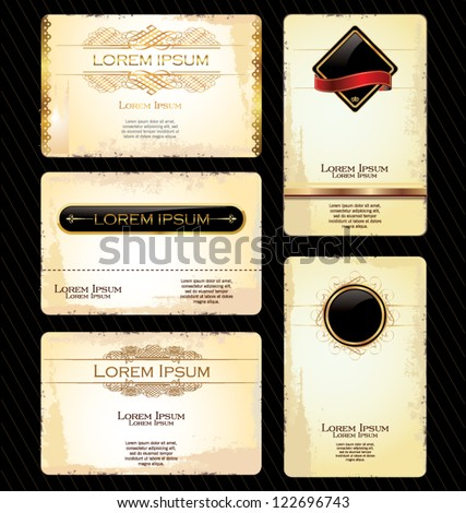 Business card with Calligraphic Design elements - stock vector