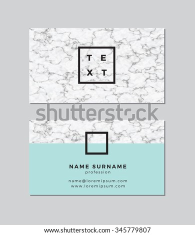Business card with marble texture - stock vector