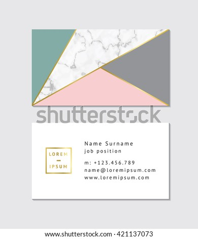 Business card with marble texture and gold detail - stock vector