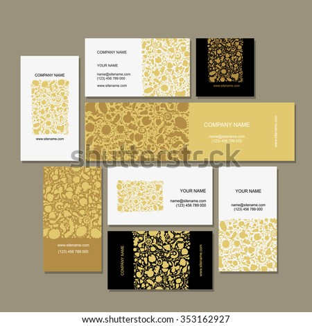 Business cards collection, floral design. Vector illustration - stock vector